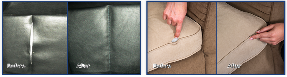 Secure Stitch Before and After Leather