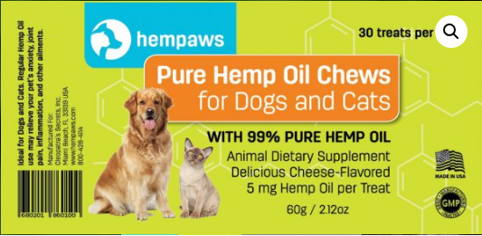 Hemp Paws Hemp Oil Pet Chews Label
